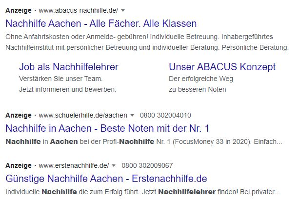 SEA für Nachhilfe Aachen