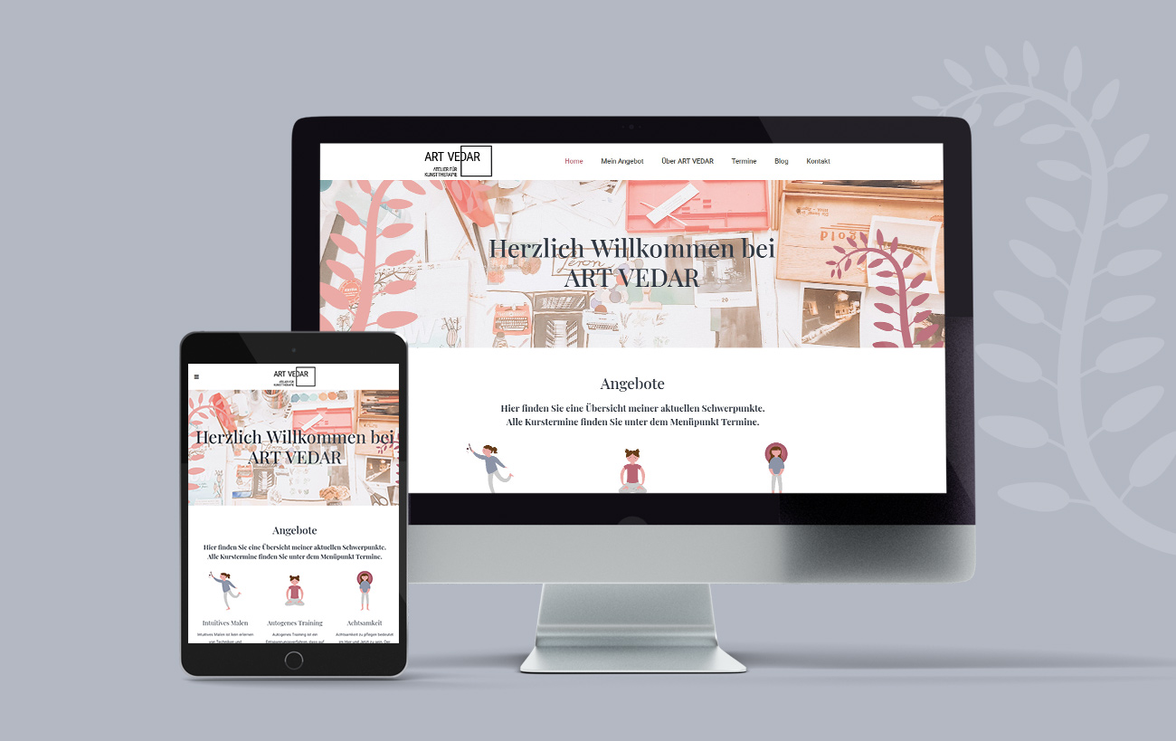 Responsive Design für Art Vedar von der Yip Yips Agentur Aachen - Startseite der Website auf Handy und Laptop