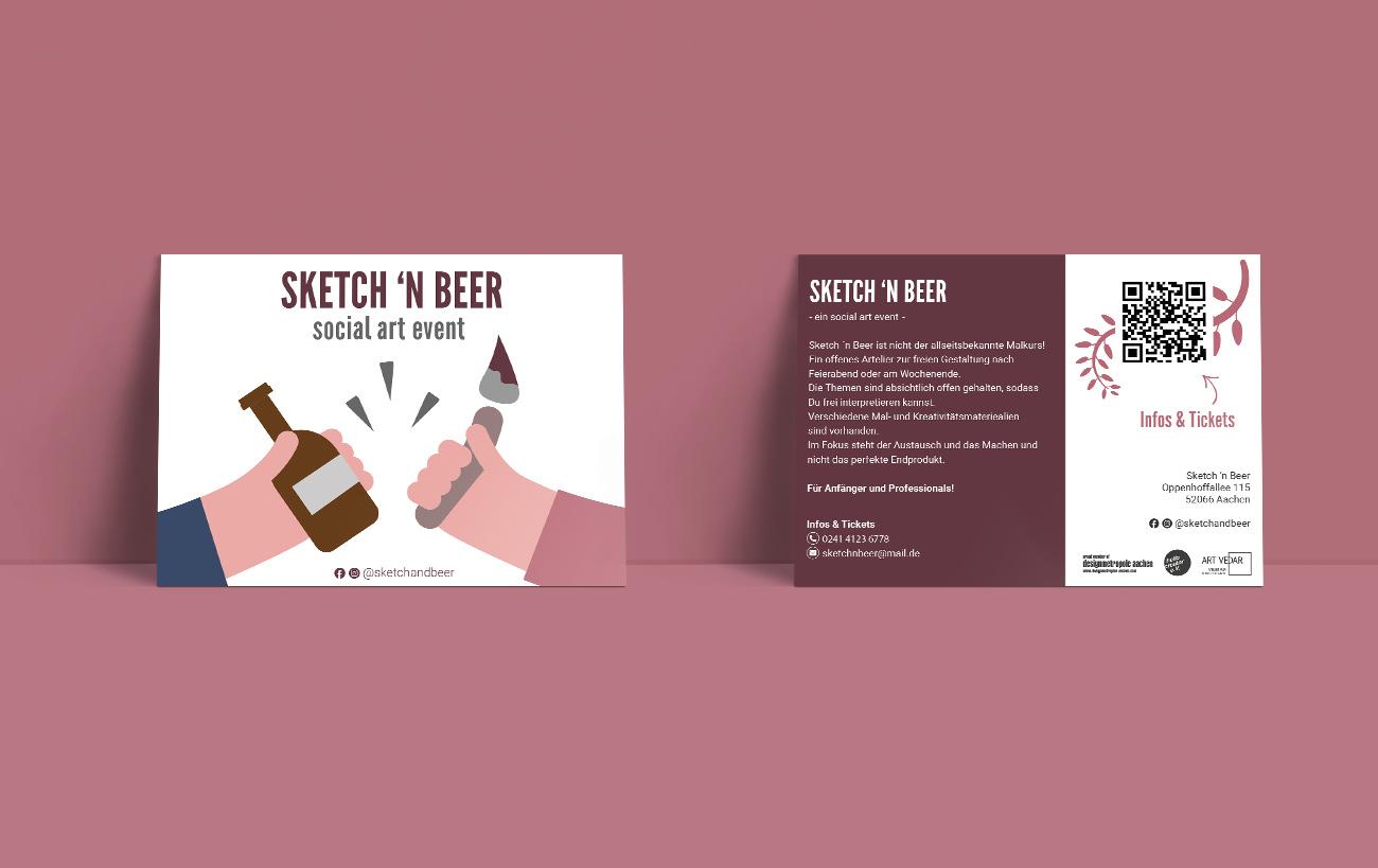 Postkarte Sketch n Beer für Art Vedar - Corporate Design