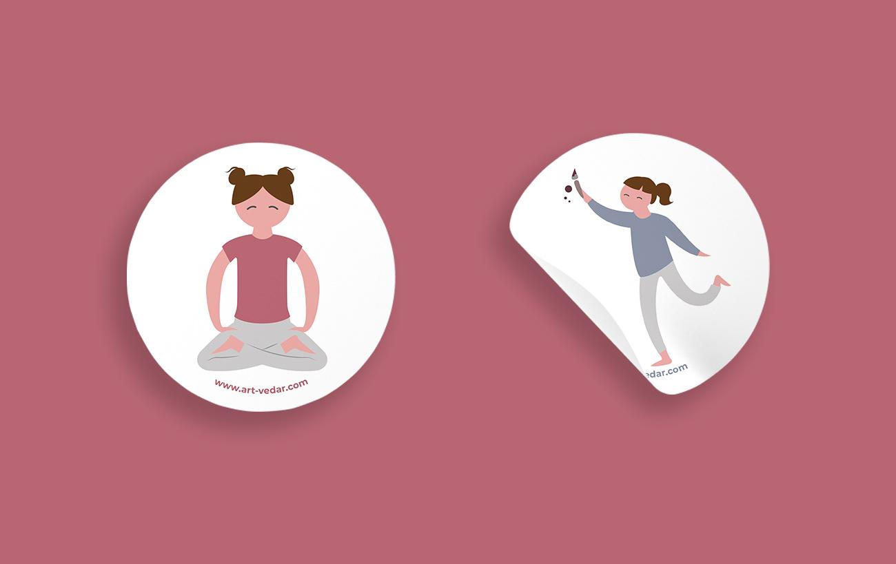 Sticker und Aufkleber Design für Art Vedar von der Yip Yips Agentur