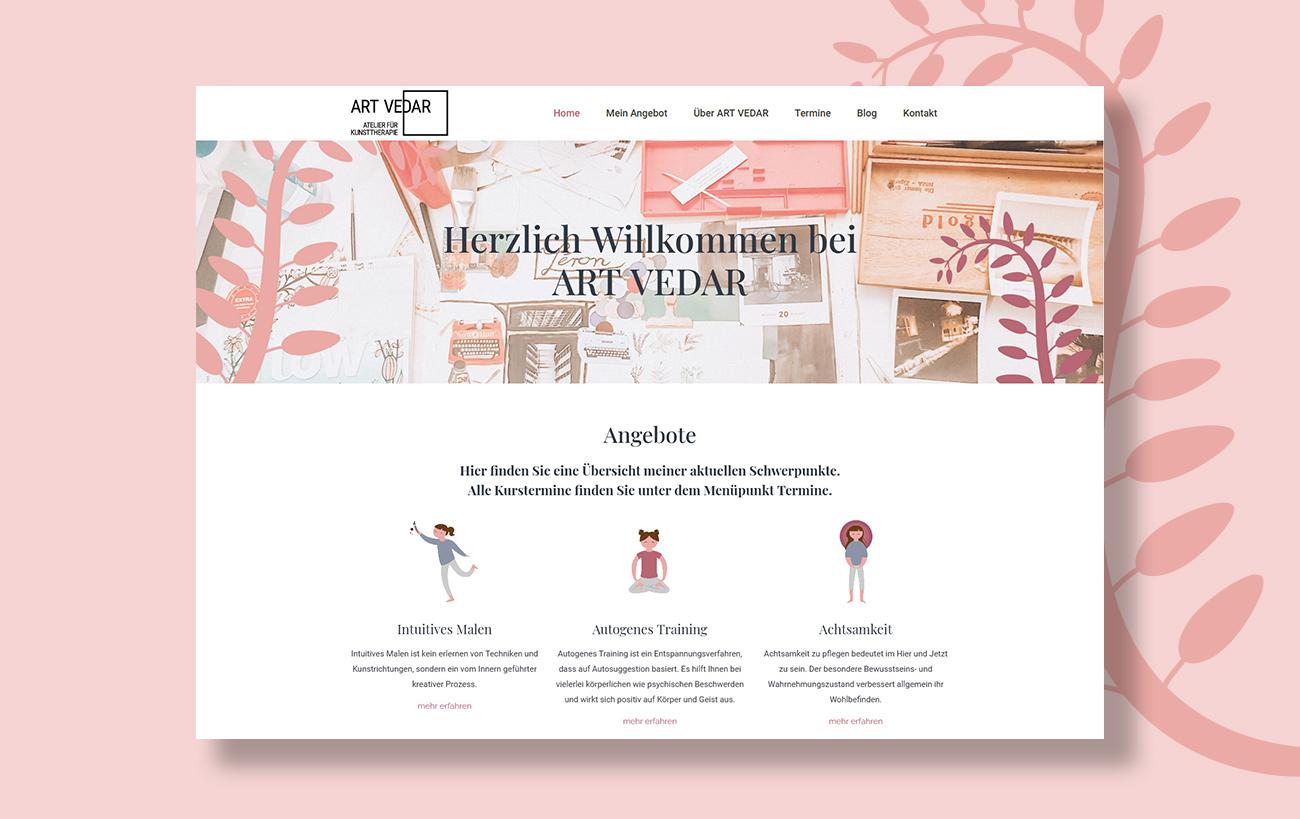 Webdesign für Art Vedar von der Yip Yips Agentur Aachen - Startseite