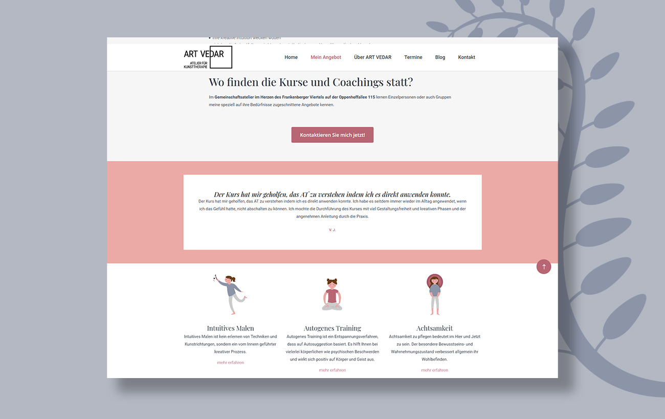 Webdesign für Art Vedar - Abbildung der Website