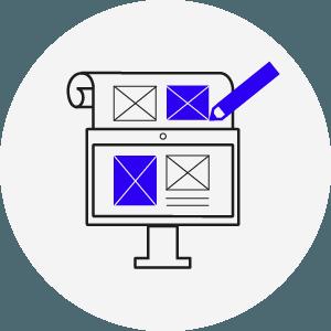 Icon mit Stift Bildschirm und Papier, einige Elemente sind blau eingefärbt