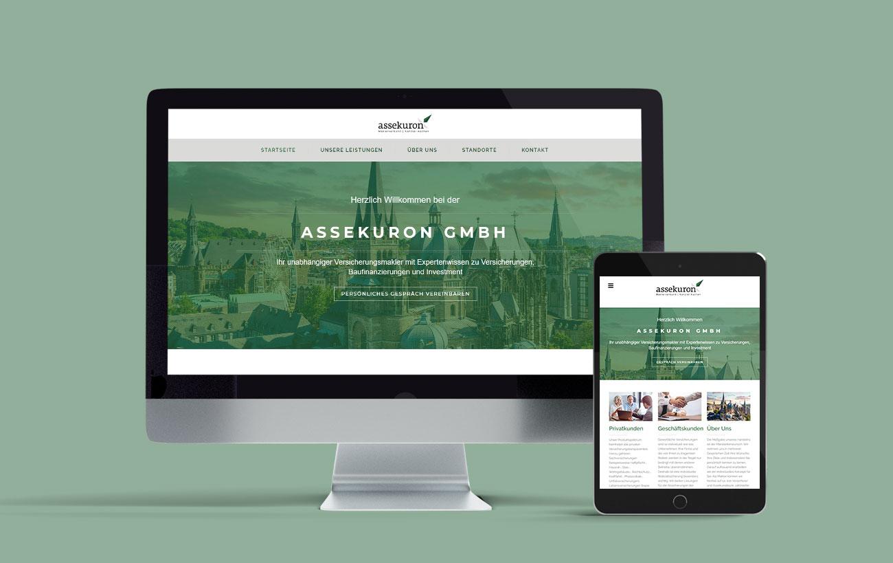 Responsive Design für assekuron von der Yip Yips Agentur Aachen - Startseite der Website auf Handy und Laptop