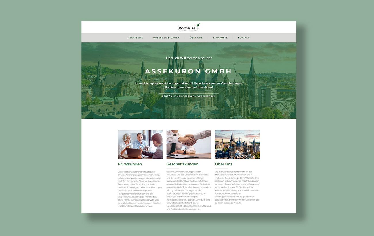 Webdesign für assekuron von der Yip Yips Agentur Aachen - Startseite