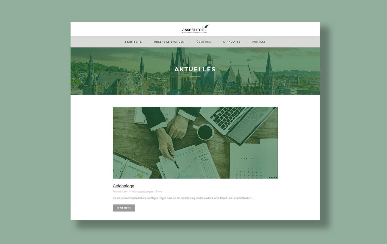 Webdesign für assekuron von der Yip Yips Agentur Aachen - Unterseite Aktuelles