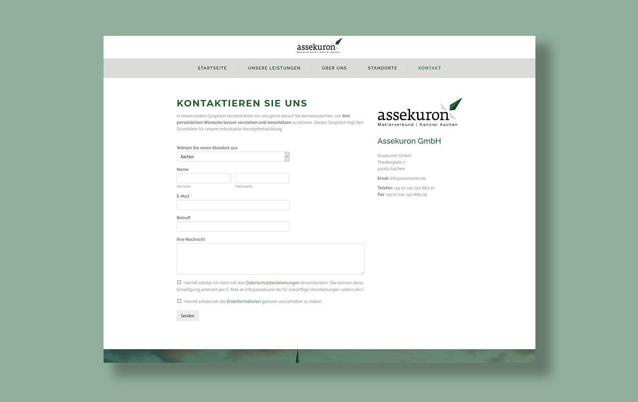 Webdesign für assekuron von der Yip Yips Agentur Aachen - Unterseite Kontakt