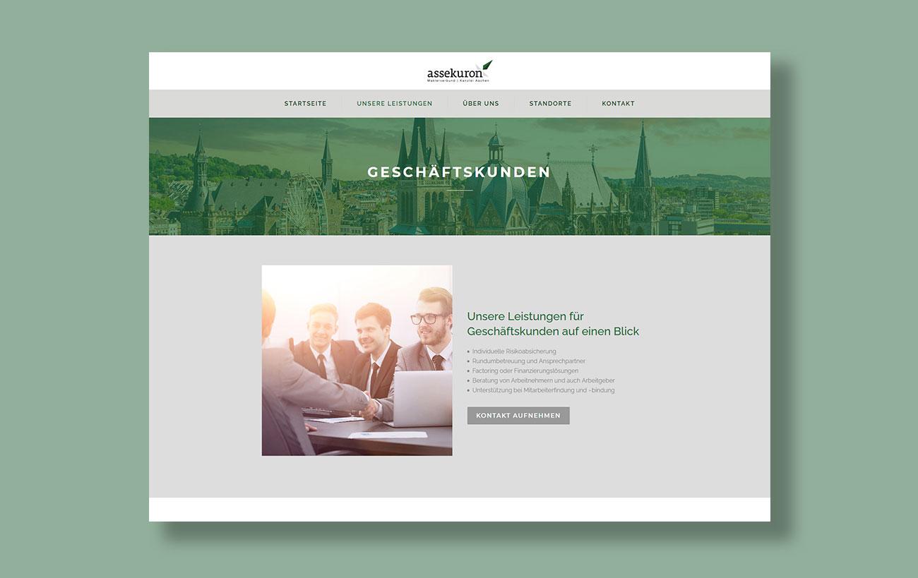 Webdesign für assekuron von der Yip Yips Agentur Aachen - Unterseite Geschäftskunden