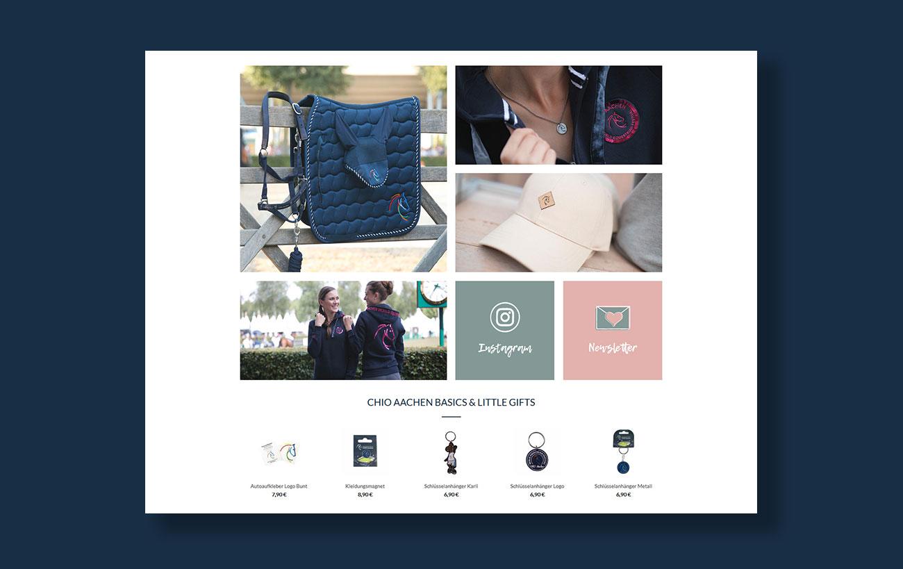 Shop Design für den CHIO von der Yip Yips Agentur Aachen - Produktvorstellungen Startseite