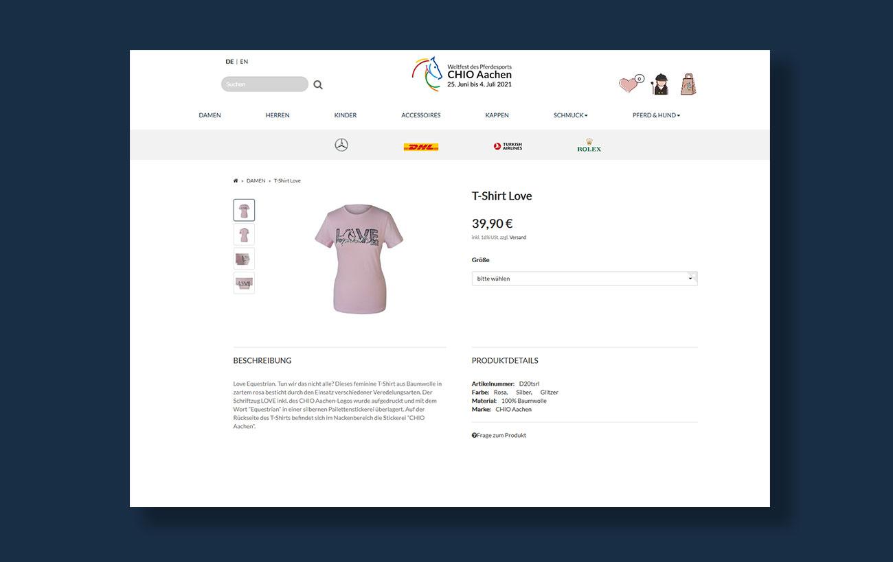 Shop Design für den CHIO von der Yip Yips Agentur Aachen - Produktseite