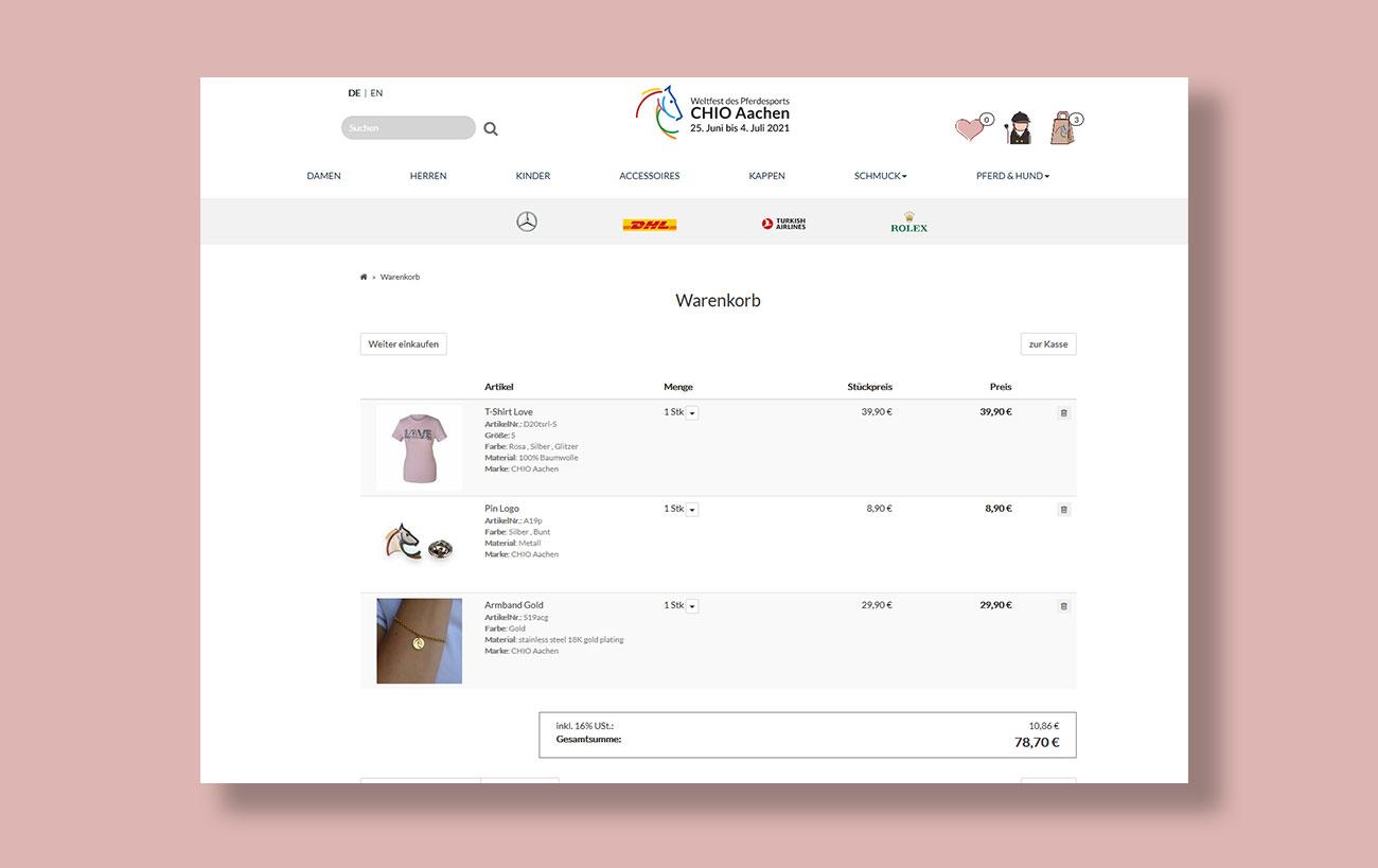 Shop Design für den CHIO von der Yip Yips Agentur Aachen - Warenkorb