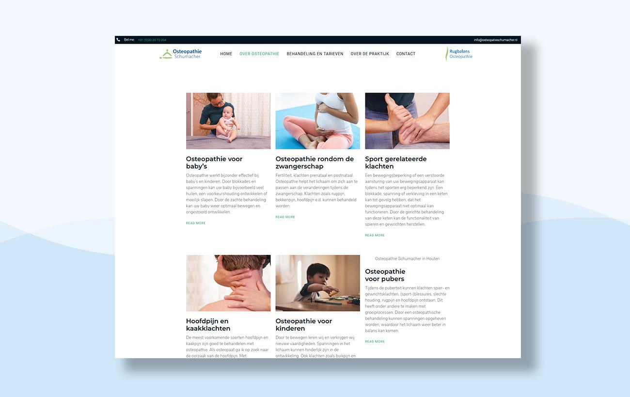 Webdesign für Osteopathie Schumacher - Unterseite Leistungen