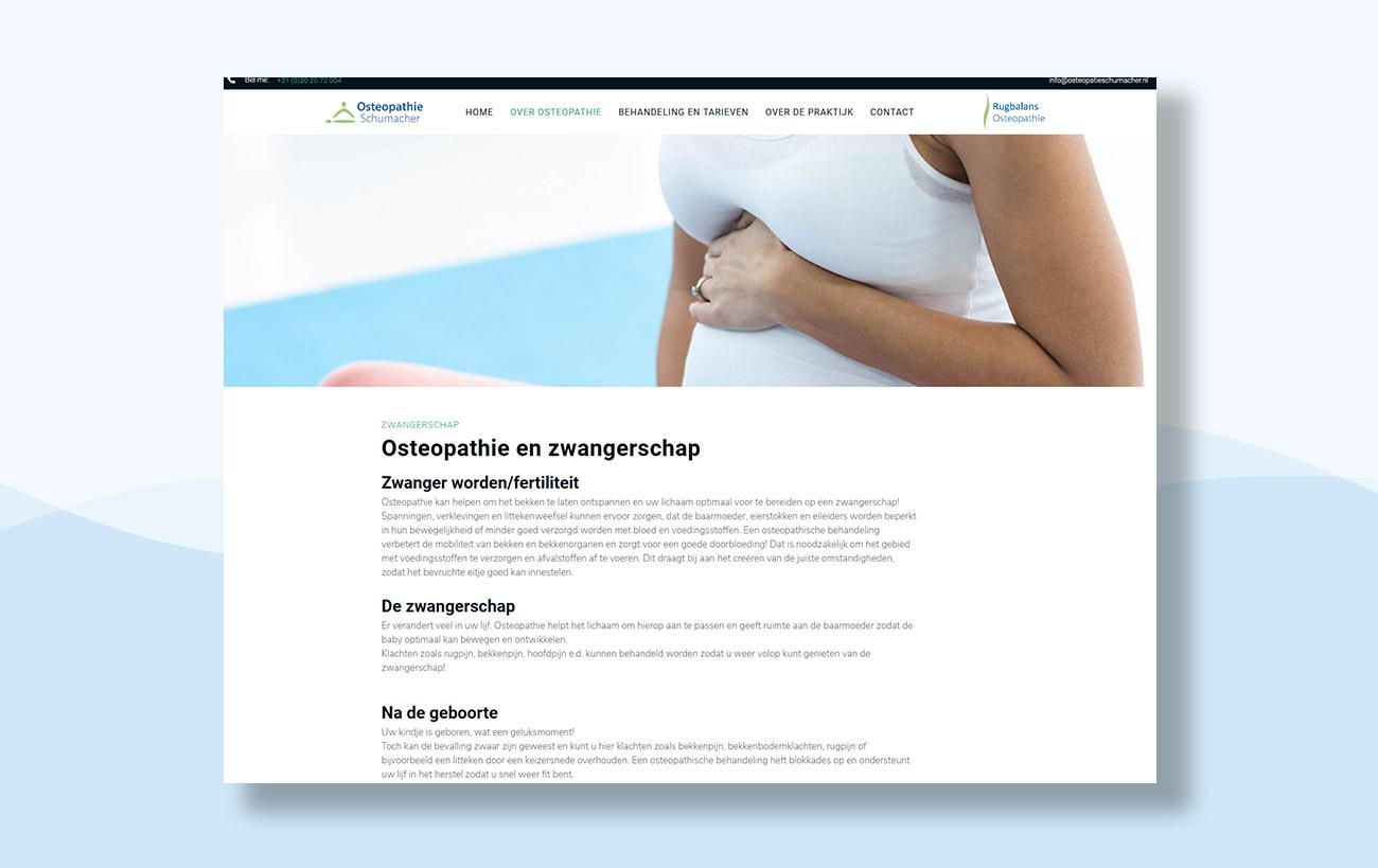 Webdesign für Osteopathie Schumacher - Unterseite Schwangerschaft