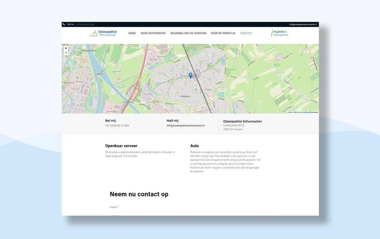 Webdesign für Osteopathie Schumacher - Anfahrtsseite