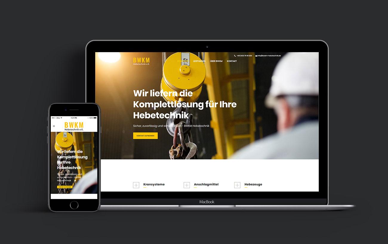 Responsive Design für BWKM von der Yip Yips Agentur Aachen - Startseite der Website auf Handy und Laptop
