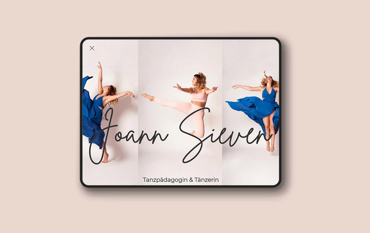 Beispiel für responsive Webdesign, Webdesign der Webseite von Joann Sieven