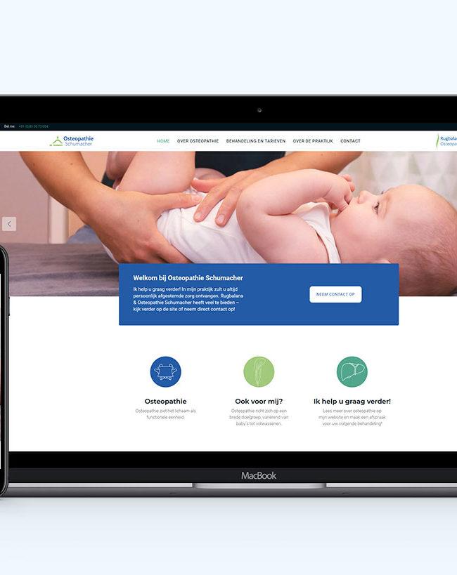 Responsive Design für Osteopathie Schumacher von der Yip Yips Agentur Aachen - Startseite der Website auf Handy und Laptop