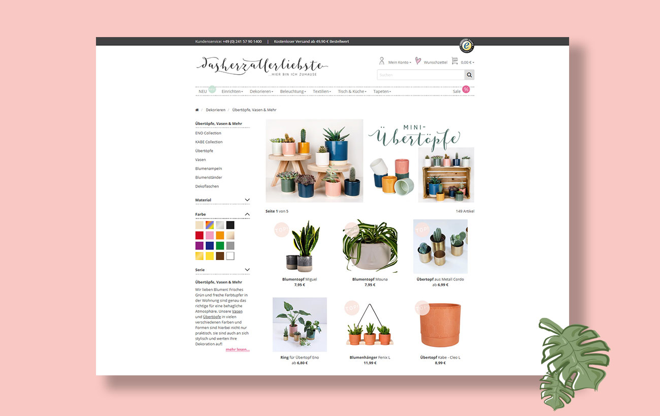 Kategorie Seite dhal.de |dasherzallerliebste - Webdesign von Yip Yips - Agentur für Webdesign und Design Aachen