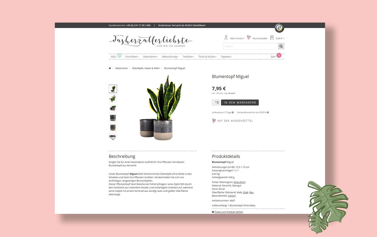 Shop Design einer Produktseite für dasherzallerliebste