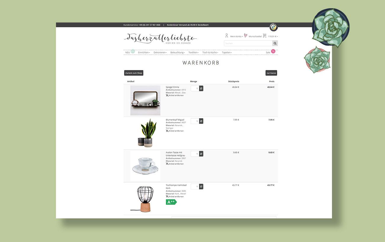 Shopdesign von der Yip Yips Agentur Aachen für dasherzallerliebste - Warenkorb