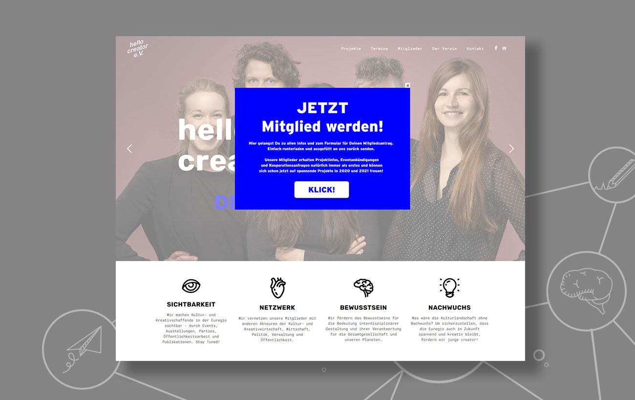 Webdesign für den hello creator e.V. von der Yip Yips Agentur Aachen - Startseite mit Pop-up