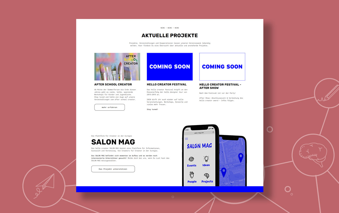 Webdesign für den hello creator e.V. von der Yip Yips Agentur Aachen - Unterseite Aktuelle Projekte