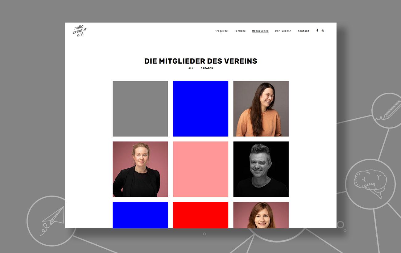 Webdesign für den hello creator e.V. von der Yip Yips Agentur Aachen - Mitgliederseite