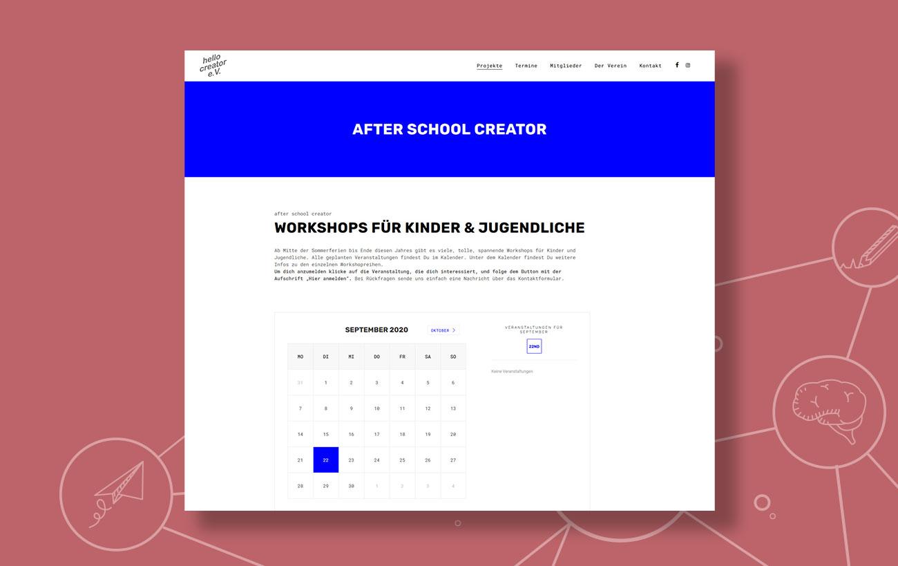 Webdesign für den hello creator e.V. von der Yip Yips Agentur Aachen - Unterseite Workshops