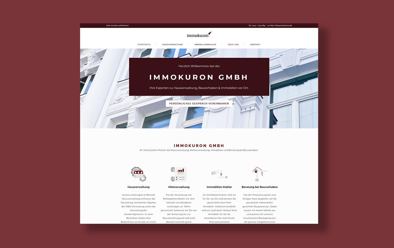 Webdesign für immokuron der Yip Yips Agentur Aachen - Startseite