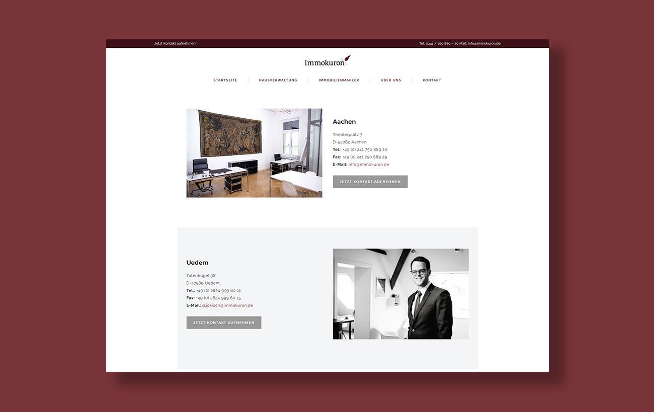 Webdesign für immokuron der Yip Yips Agentur Aachen - Kontaktseite