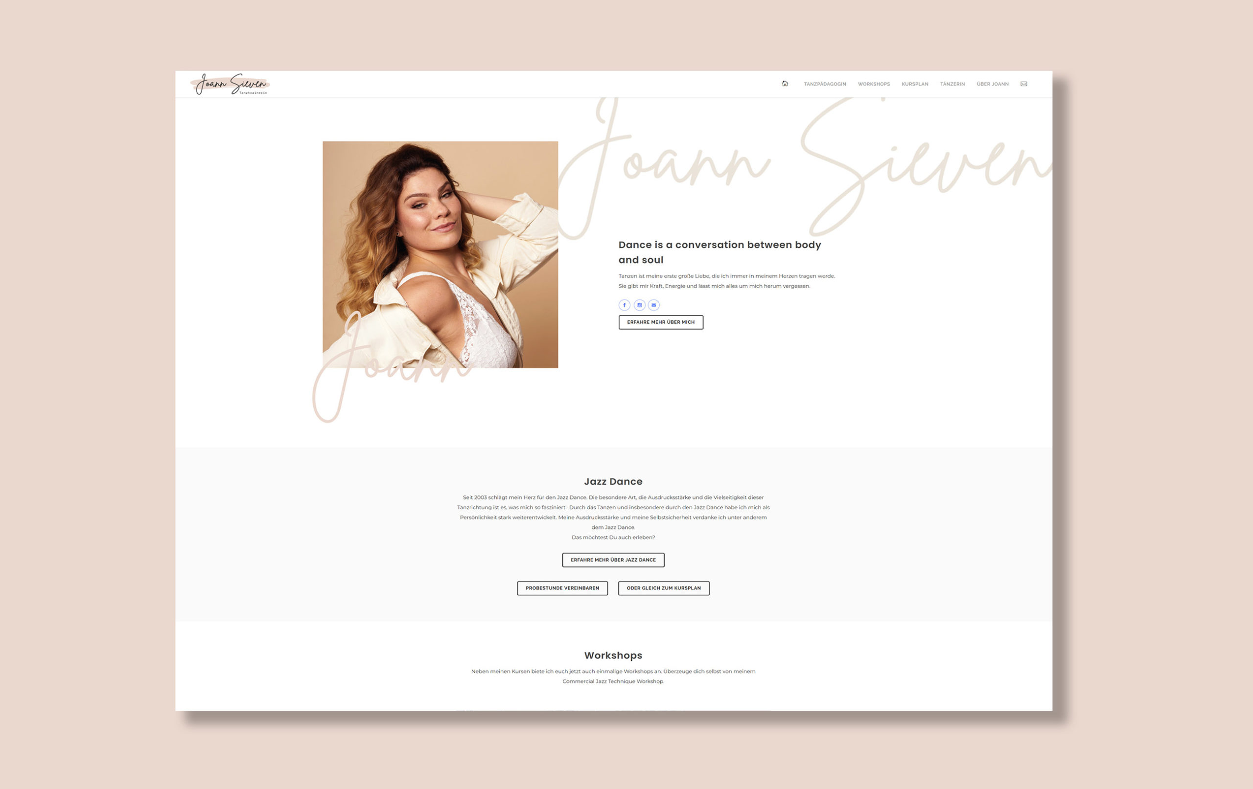 Webdesign für Joann Sieven - Kontaktseite