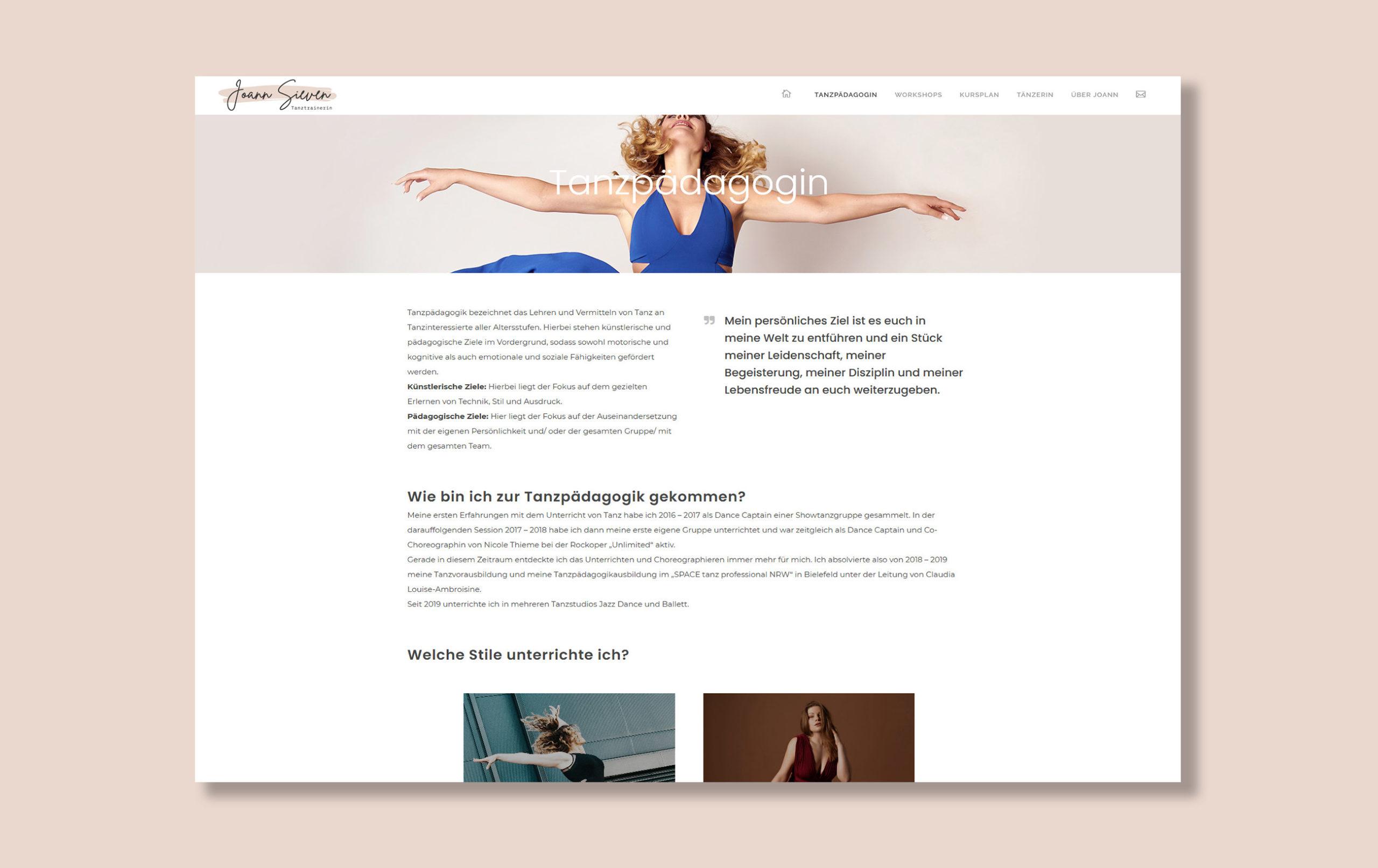 Webdesign für Joann Sieven - Abbildung der Website Unterseite Tanzpädagogin