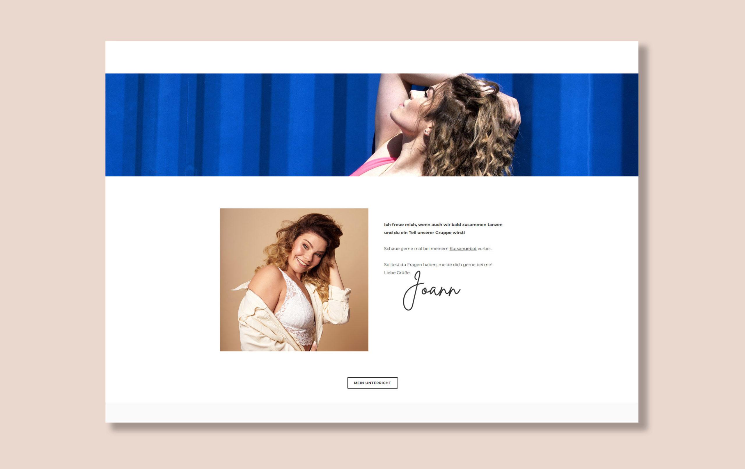 Webdesign für Joann Sieven - Mockup der Website Unterseite Kontakt