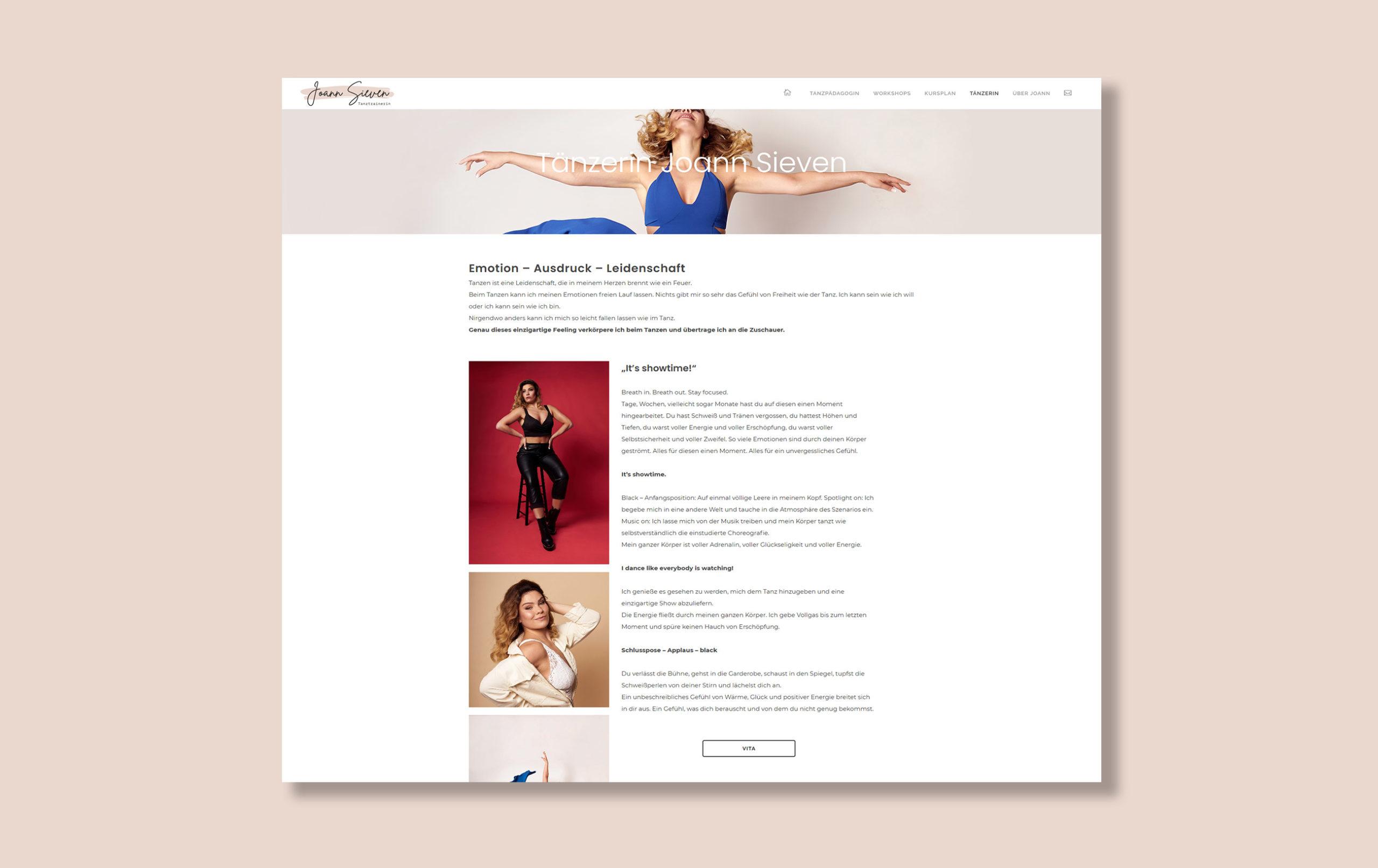 Webdesign für Tänzerin Joann Sieven - Abbildung einer Unterseite der Website