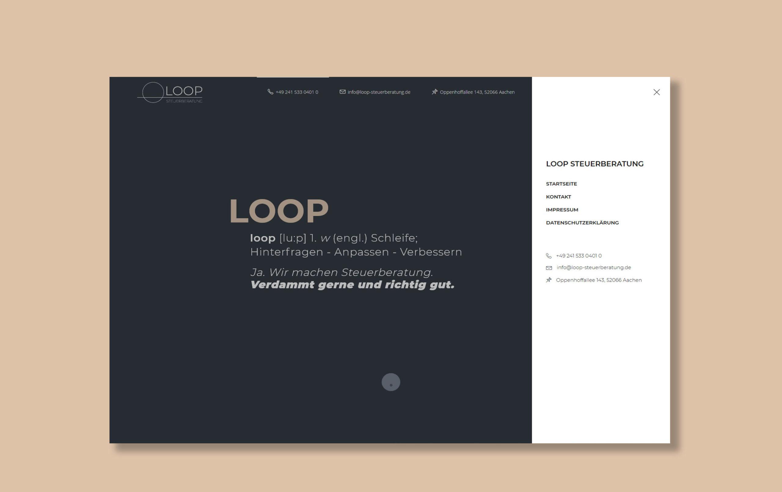Beispiel für Webdesign der Yip Yips Agentur Aachen, Webseite der Loop Steuerberatung mit Kontaktdaten und Slogan
