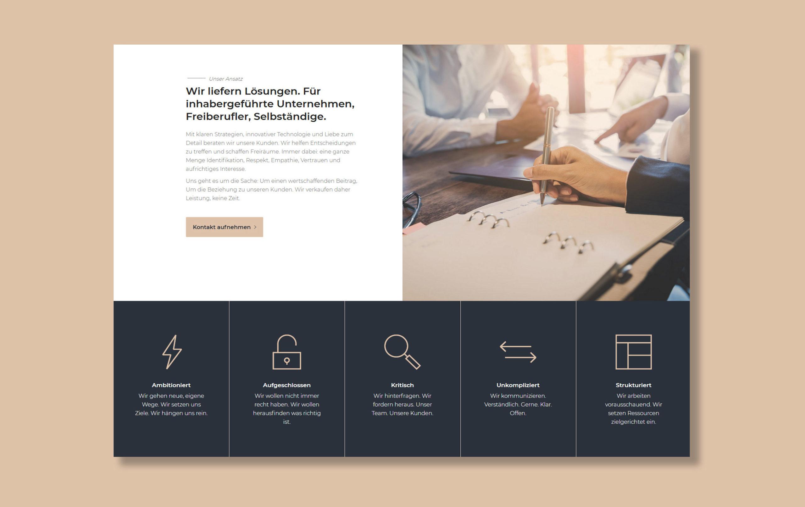 Beispiel für Webdesign der Yip Yips Agentur Aachen, Webseite der Loop Steuerberatung