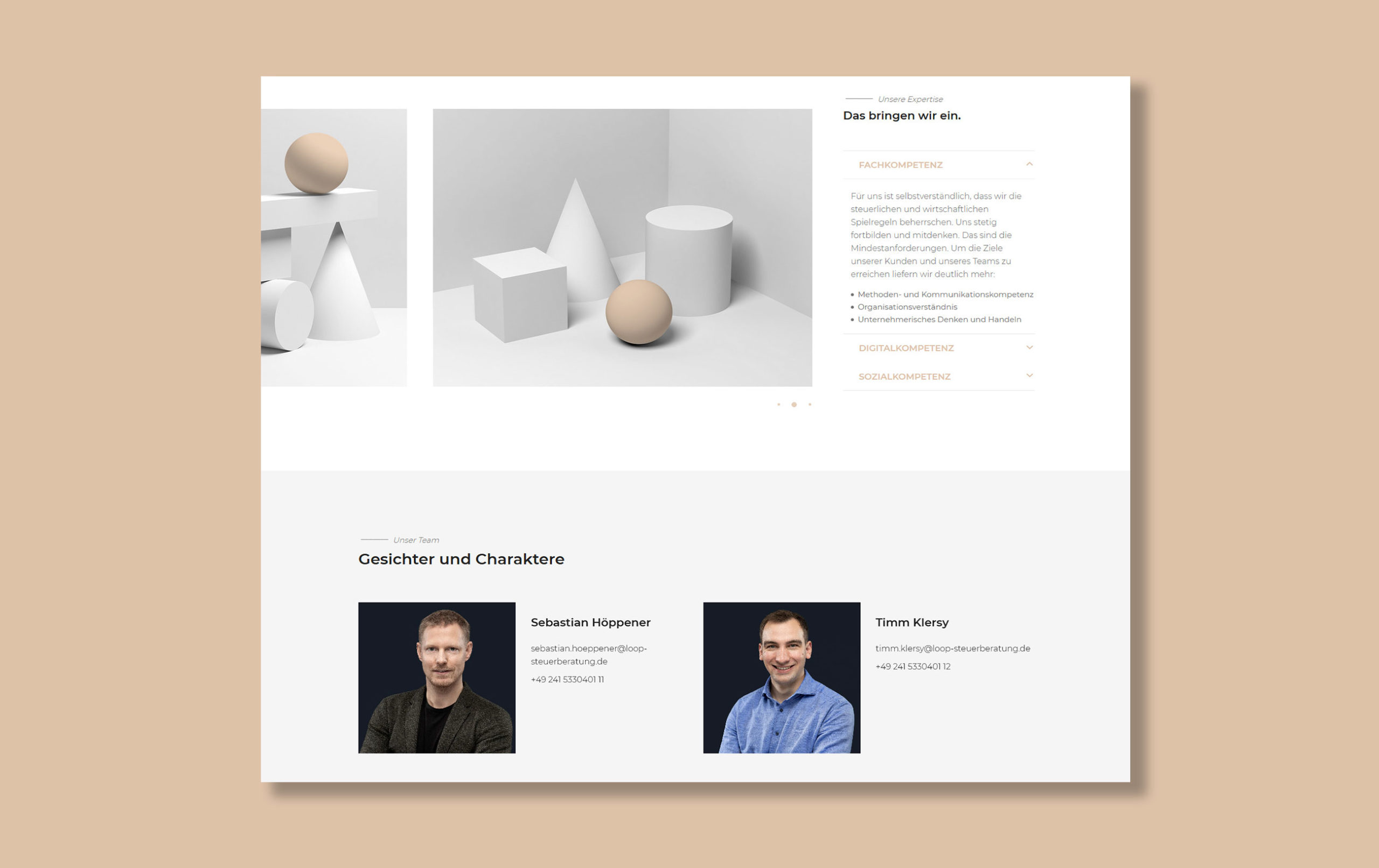 Vorstellungsseite der Loop Steuerberatung Webseite - Anfahrtsbeschreibung, Beispiel für Webdesign