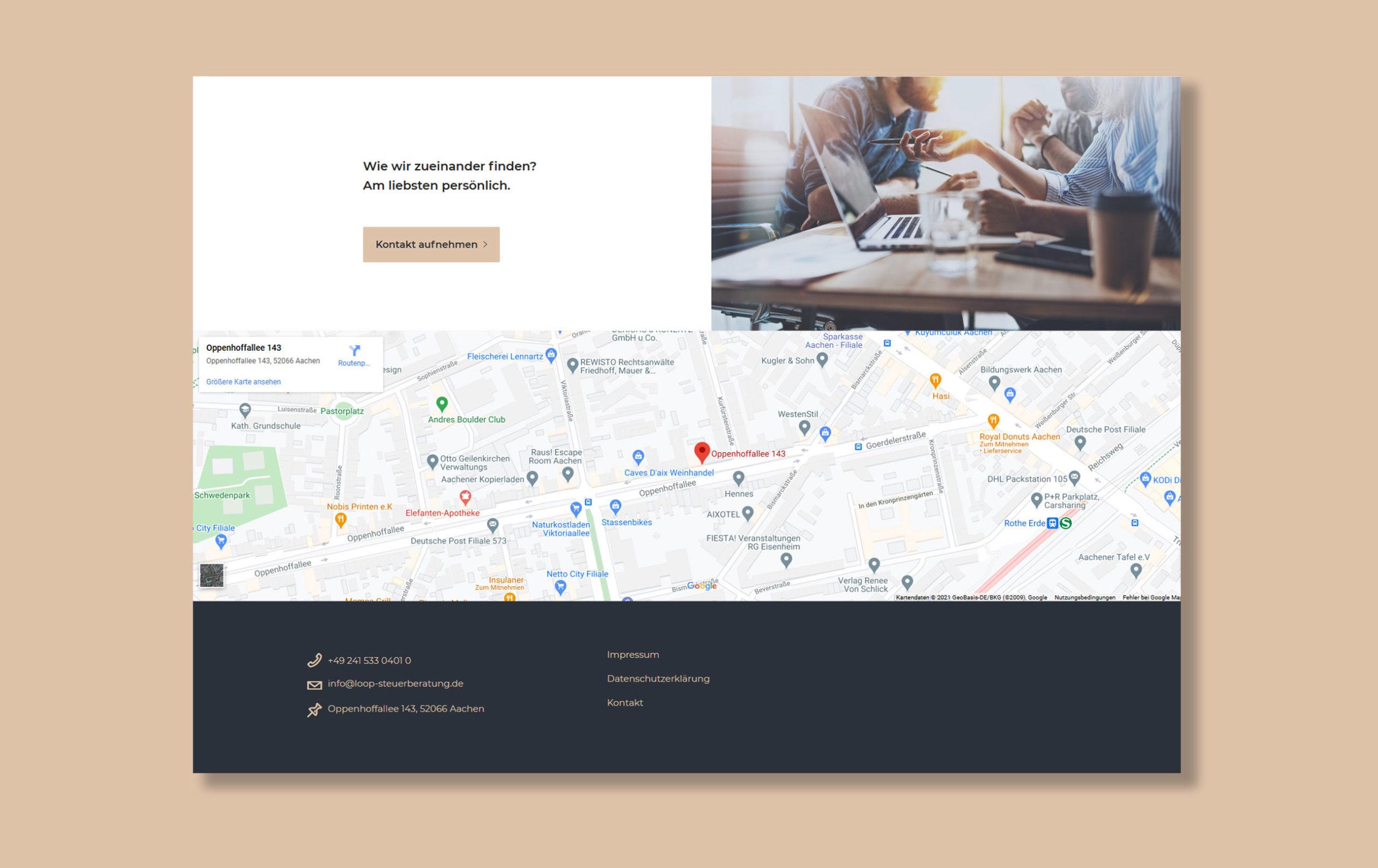 Kontaktseite der Loop Steuerberatung Webseite - Anfahrtsbeschreibung, Beispiel für Webdesign