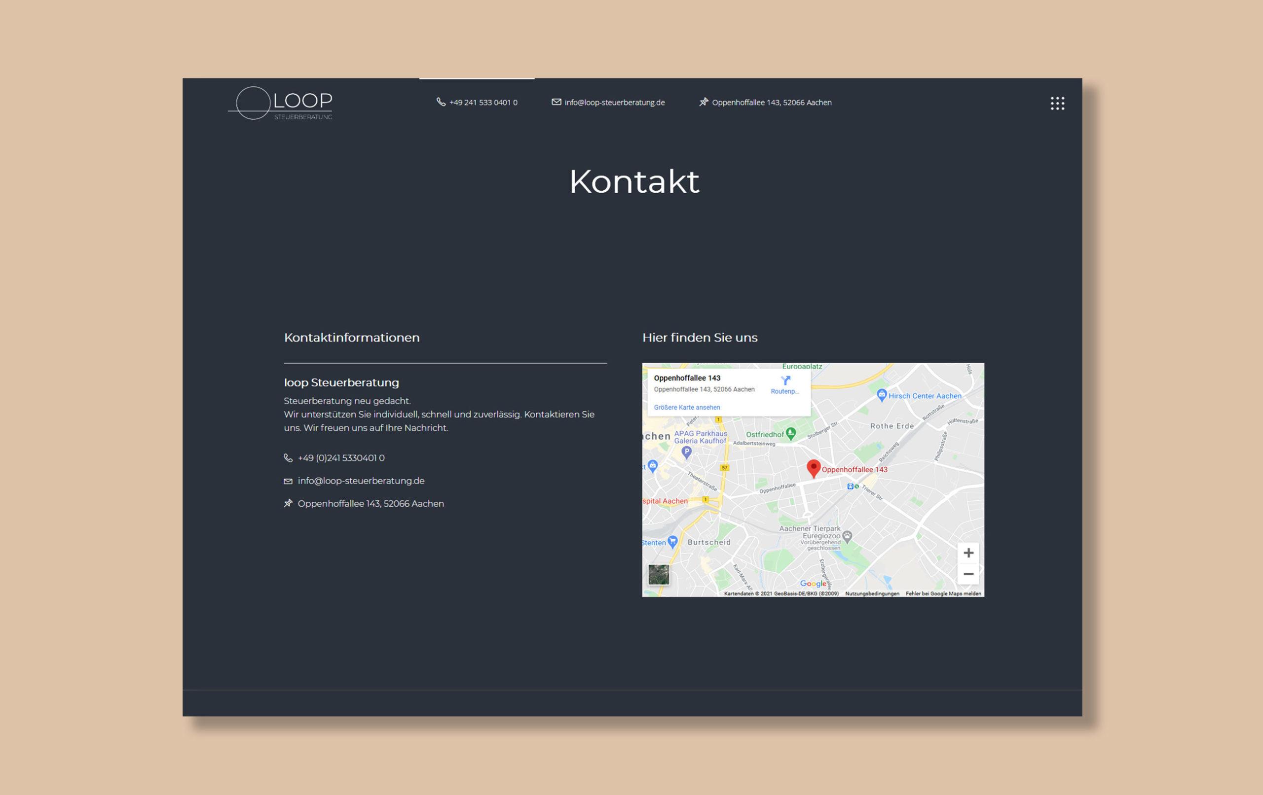Kontaktseite der Loop Steuerberatung Webseite, Beispiel für Webdesign