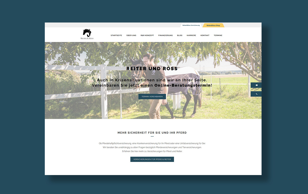 Webdesign für Reiter&Ross - Startseite