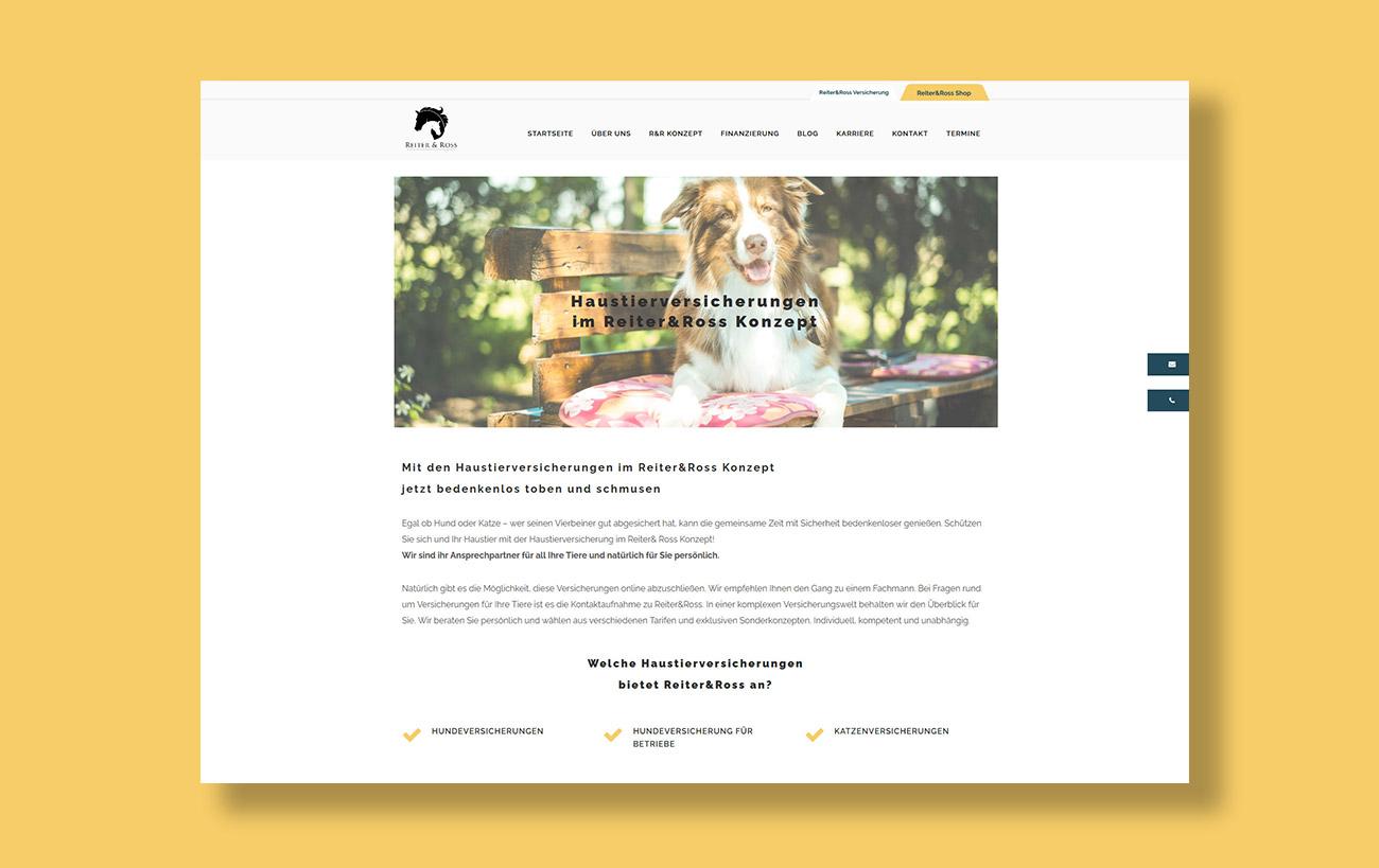 Webdesign für Reiter&Ross - Unterseite Haustierhaftpflicht