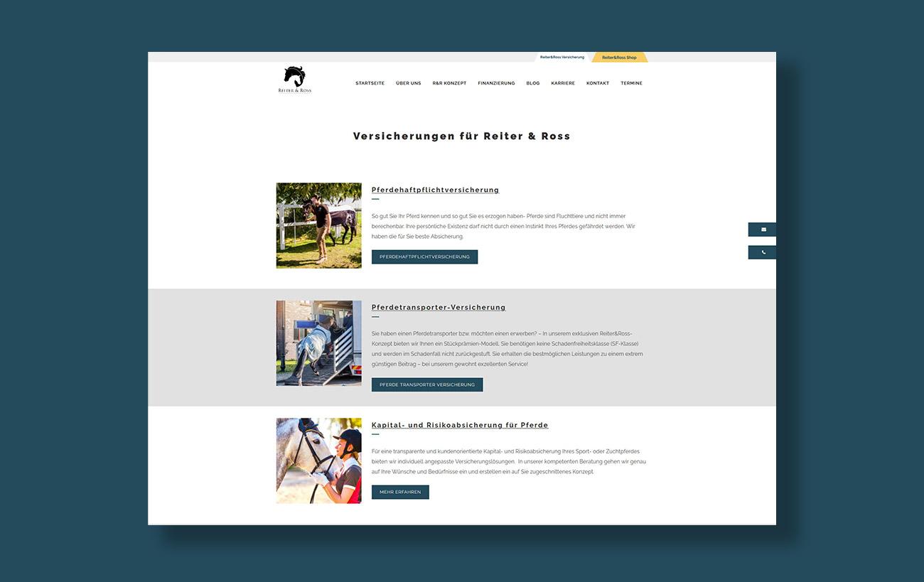 Webdesign für Reiter&Ross - Unterseite Versicherungen
