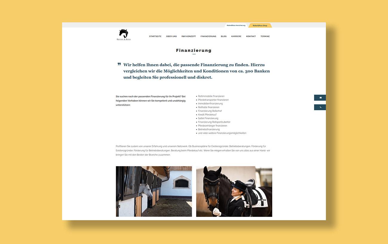 Webdesign für Reiter&Ross - Unterseite Finanzierung