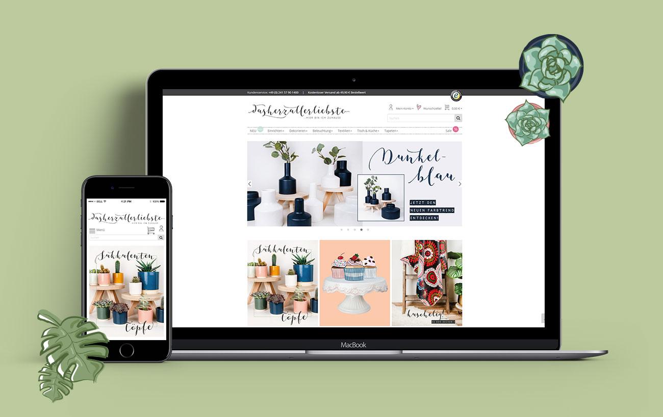 Responsive Design für dasherzallerliebste von der Yip Yips Agentur Aachen - Startseite der Website auf Handy und Laptop