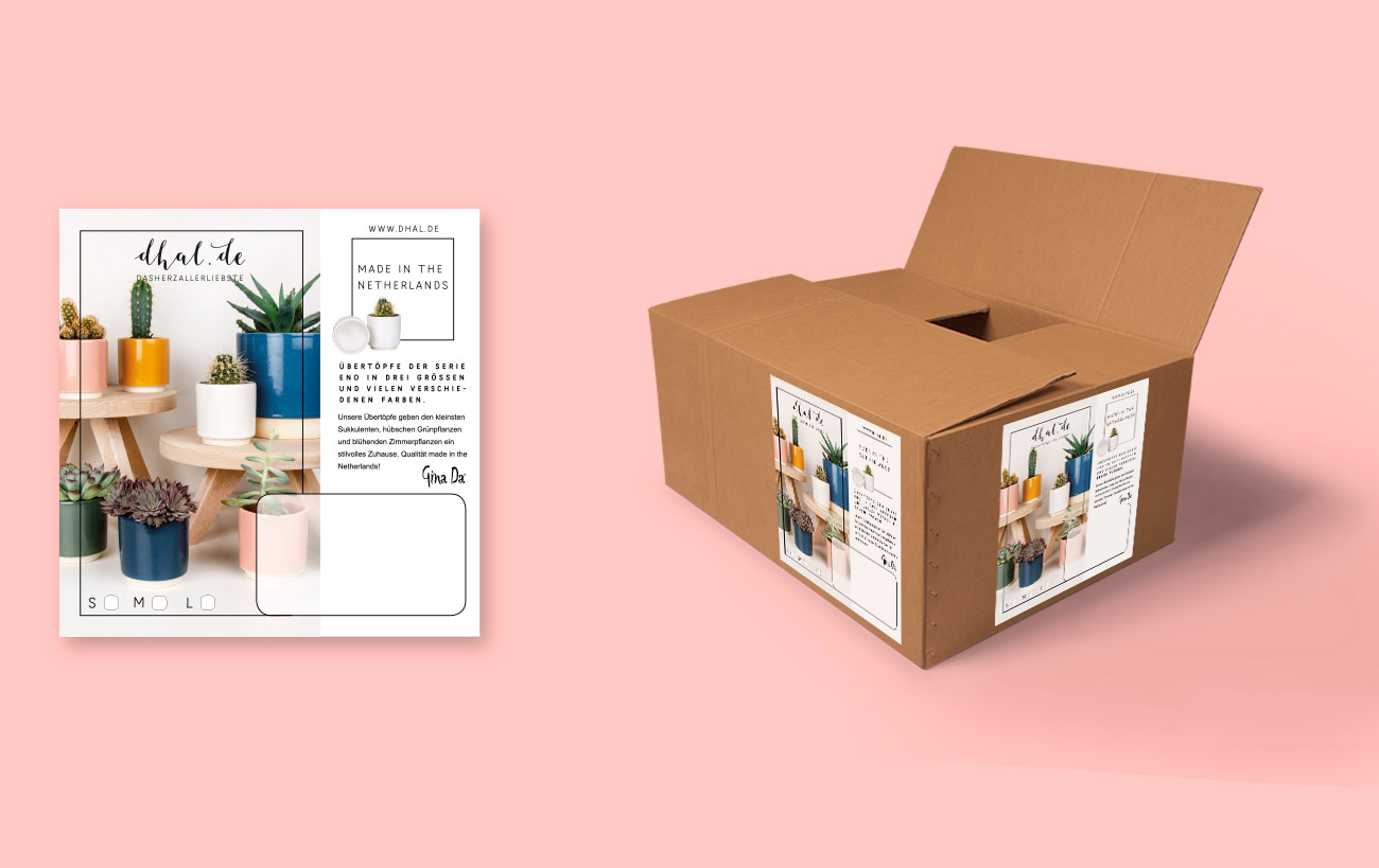 Packaging Design für dhal - Paketdesign und Produktbeilage für Übertöpfe