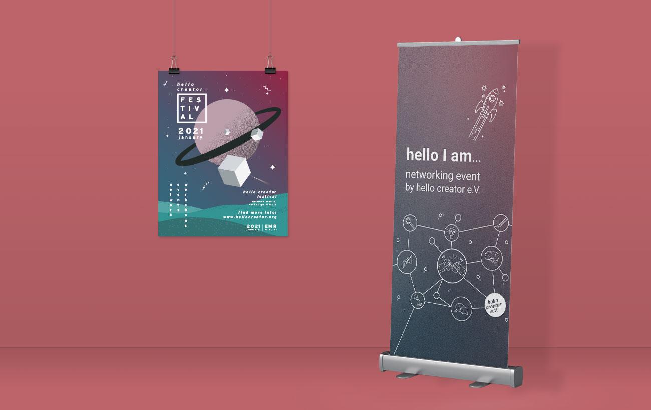 Poster Design für Stand auf einem Event für den hello creator e.V.