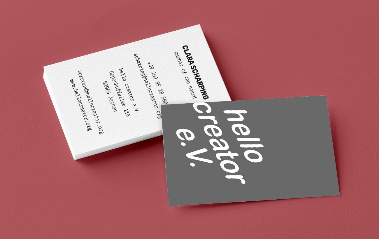 Visitenkarten für Mitglieder des hello creator e.V. - Coporate Design