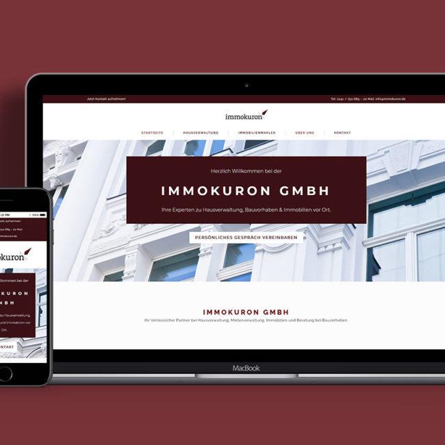 Responsive Webdesign für immokuron - Startseite auf Laptop und Handy