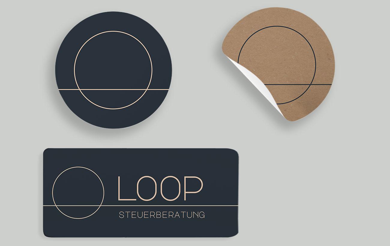 Sticker und Logo Design für die Loop Steuerberatung, Corporate Design