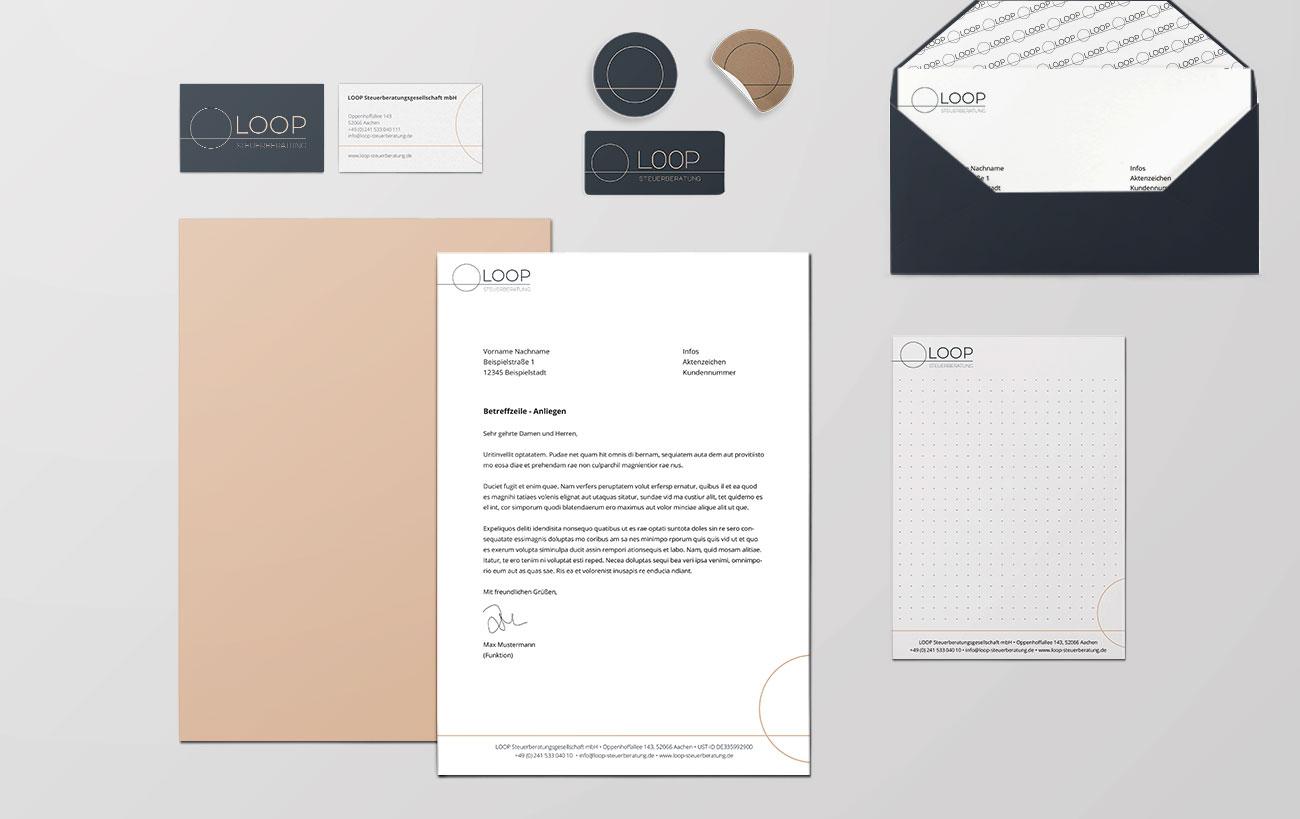 Geschäftsausstattung der Loop Steuerberatung, Corporate Design